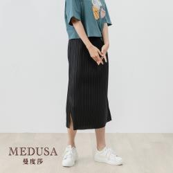 現貨【MEDUSA 曼度莎】超彈性壓褶開衩中長裙(F) 超彈性,M-2L可穿 上班穿搭