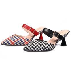 【Sp house】氣質淑女千鳥圖一字帶尖頭跟鞋(黑色紅色2色全尺碼)