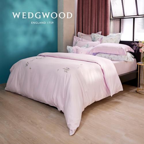 【WEDGWOOD】400織長纖棉甜蜜梅果鬆緊床包單件組(粉紫)-加大