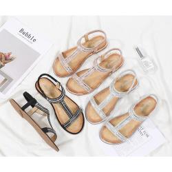 【Taroko】夏季優雅姿態T字編織水鑽鬆緊帶涼鞋(3色可選)