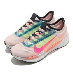 Nike 慢跑鞋 Zoom Fly 3 PRM 運動 女鞋 氣墊 避震 路跑 健身 球鞋 穿搭 粉 黃 CJ0404600 [ACS 跨運動]