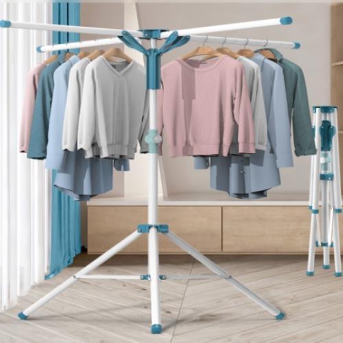 AOTTO 曬衣神器 多功能不鏽鋼四桿曬衣架(可曬棉被 可折疊收納)