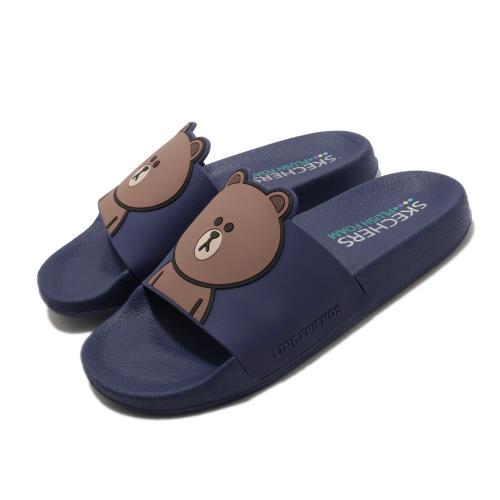 Skechers 涼拖鞋 2ND TAKE 套腳 聯名 舒適 女鞋 熊大 LINE FRIENDS 限定款 藍 棕 31644RYL