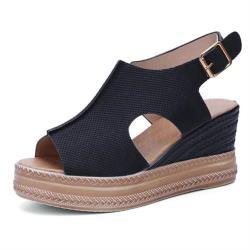 【Taroko】品味焦點透氣鏤空魚嘴厚底涼鞋(4色可選)