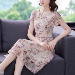 REKO-溫柔典雅刺繡柔紗改良旗袍洋裝L-4XL(共二色)