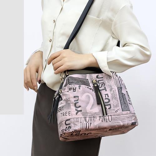 Acorn*橡果-新款印花斜背包側肩包手提包水桶包防水包6517(粉色)
