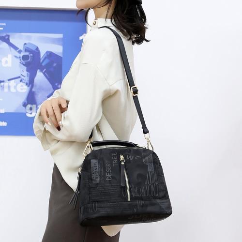 Acorn*橡果-新款印花斜背包側肩包手提包水桶包防水包6517(黑色)