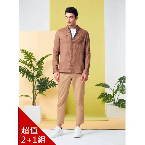 ST.MAO英倫紳士100%亞麻水洗經典男襯衫-獨