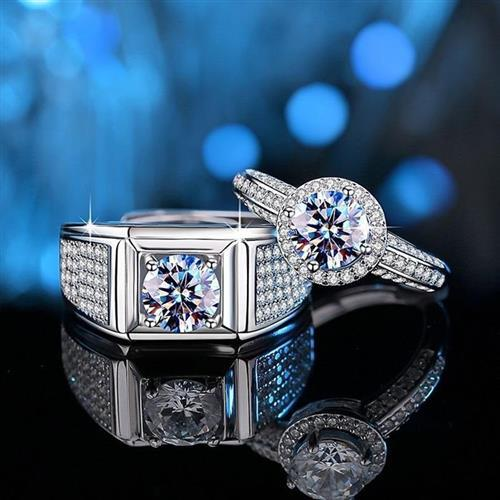【米蘭精品】莫桑石戒指925純銀開口戒-1克拉群星閃耀對戒男女飾品2款74an30【附GRA證書】