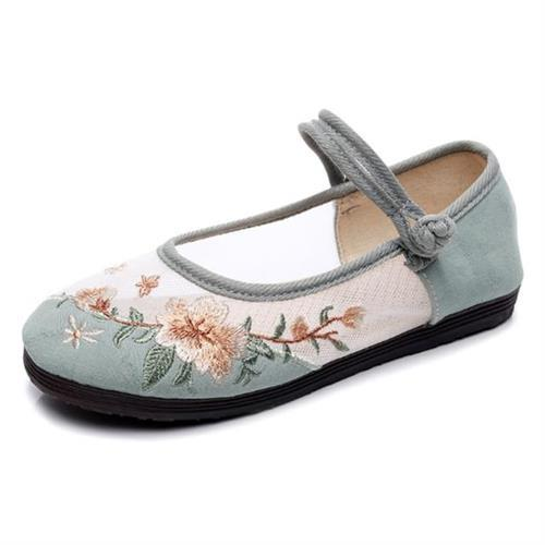 【Taroko】優雅氣質棉麻網布繡花圓頭休閒鞋(3色可選)