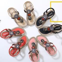 【Taroko】深情之眼串珠民族風夏季大尺碼夾腳涼拖鞋(4色可選)