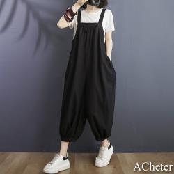 【ACheter】文藝大碼休閒寬鬆大口袋吊帶連身九分哈倫寬褲# 109476