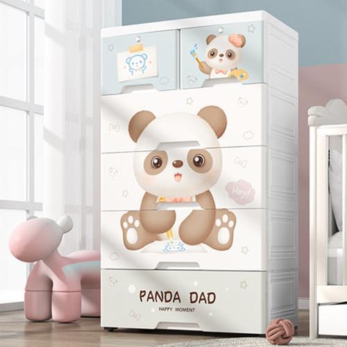 Mr.box 超大65面寬-五層兒童抽屜式收納櫃-附鎖附輪-DIY(2小抽+4大抽) 三款圖案可選