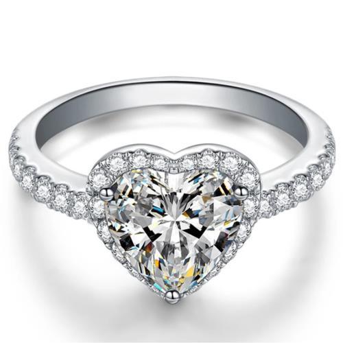 【Jpqueen】華麗切割愛心求婚情人璀璨晶鑽戒指(3色戒圍可選)