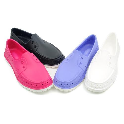 【cher美鞋】MIT防水輕量洞洞鞋透氣繽紛色系涼夏/雨天必備款-黑色/白色/桃紅/藍紫