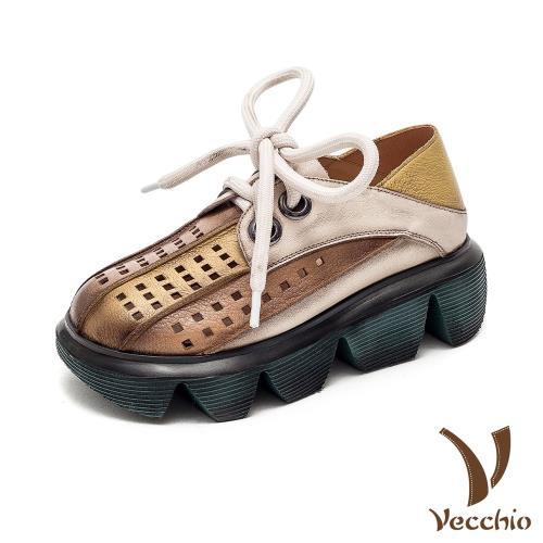【Vecchio】真皮牛津鞋厚底牛津鞋/全真皮頭層牛皮兩穿法彩色拼接縷空鬆糕厚底復古牛津鞋