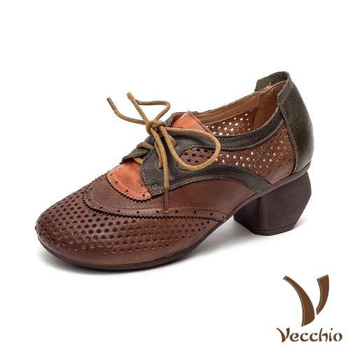 【Vecchio】縷空牛津鞋粗跟牛津鞋