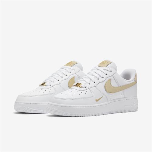 Nike 休閒鞋 Air Force 1 07 運動 女鞋 經典款 AF1 小金勾 皮革穿搭 奶茶色 白 金 CZ0270-105 [ACS 跨運動]