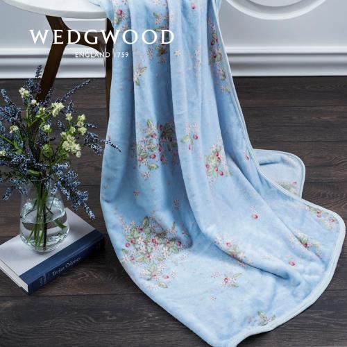 【WEDGWOOD】英倫野莓超細纖維印花毯藍-單人150x180cm