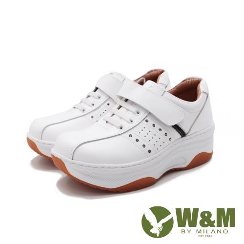W&M(女)FIT健走魔鬼氈增高休閒鞋