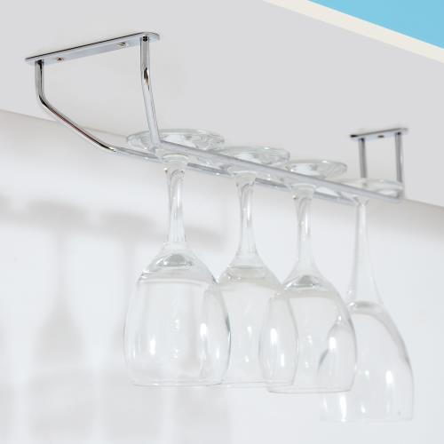 TKY 304不鏽鋼單排高腳杯架-長37cm/紅酒杯架/收納/廚房(10x37cm/台灣製造)