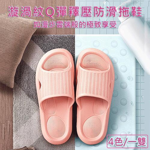 媽媽咪呀 漩渦紋Q釋壓止滑防滑拖鞋/室內浴室拖鞋(一雙)