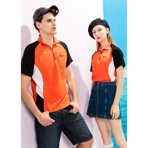 PICASSO 畢加索-男女短袖 透氣彈性POLO衫 橘色拚色系 (情侶款、休閒、彈性好穿)
