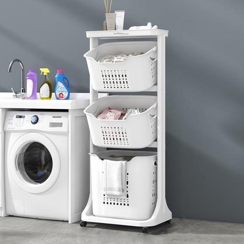 Mr.box 北歐風雙向取物三層洗衣分類收納籃-附輪