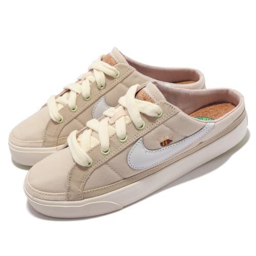 Nike 休閒鞋 Court Legacy Mule 女鞋 半包拖 套腳 輕便 小蜜蜂 軟木鞋墊 帆布 穆勒鞋 米白 DM7190-211