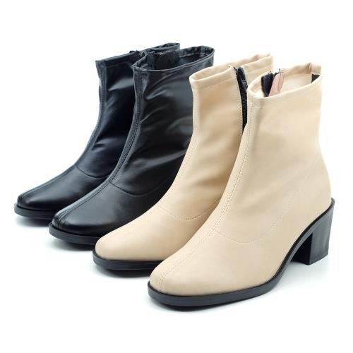 【cher美鞋】MIT簡約利落質感粗中跟馬靴短靴-黑色/米色