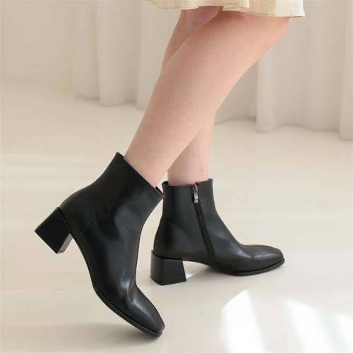 【WYPEX】法式方頭白色中跟粗跟短靴冬瘦瘦靴高跟靴女(3色)