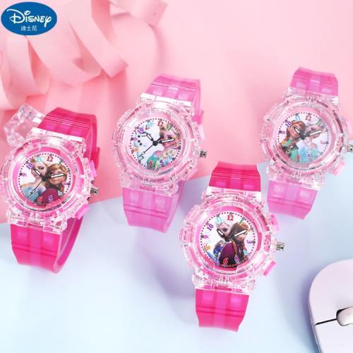 冰雪奇緣兒童錶手錶卡通錶七彩燈光