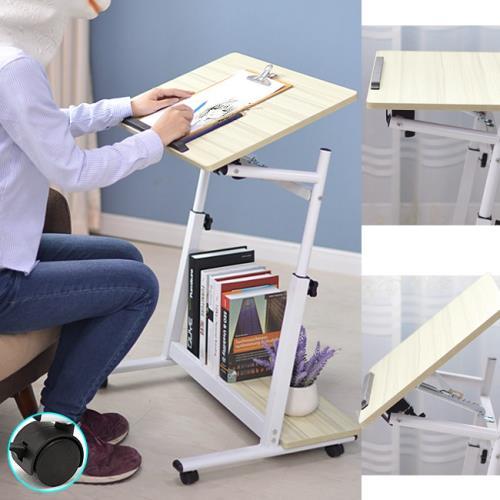多功能高低傾斜床邊桌+移動輪