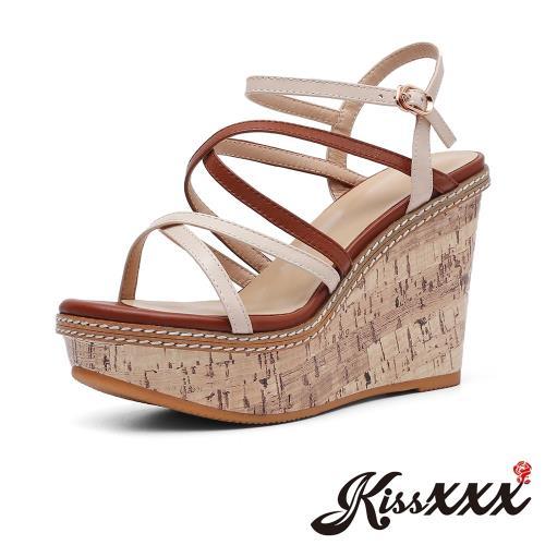 【Kissxxx】縷空涼鞋楔形涼鞋/真皮撞色縷空交叉繫帶厚底楔形涼鞋