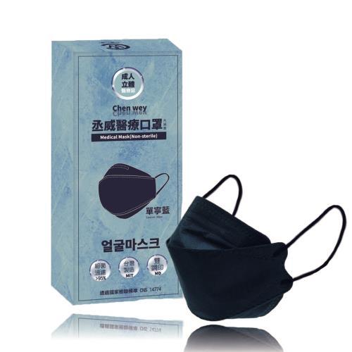 【丞威】韓版KF94成人4D醫療口罩 單寧藍 KF94 單片包裝/共10入