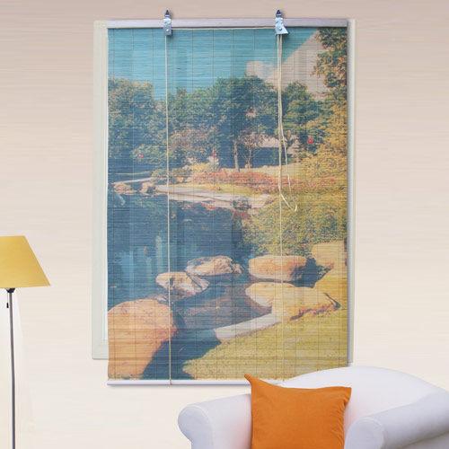 棉花田【池畔】彩色天然竹捲簾(120x160cm)