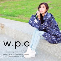 w.p.c.連帽豹紋款 時尚雨衣/風衣(R1022)-深藍