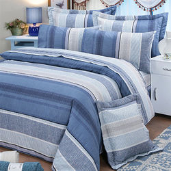 【FITNESS】克里斯精梳棉雙人七件式床罩組-藍