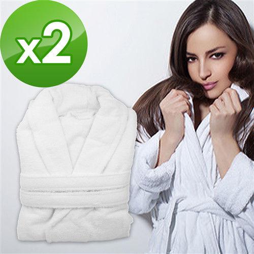 花季-LJ 五星飯店款100%純棉舒柔保暖歐式浴袍x2件