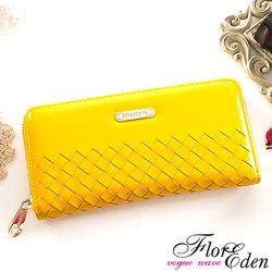 DF Flor Eden皮夾 - 巴黎簡約系列羊皮編織款單拉鍊長夾-共3色