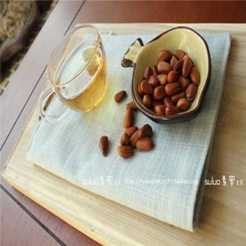 【協貿】田園素色條紋手工棉麻淺藍布藝餐墊