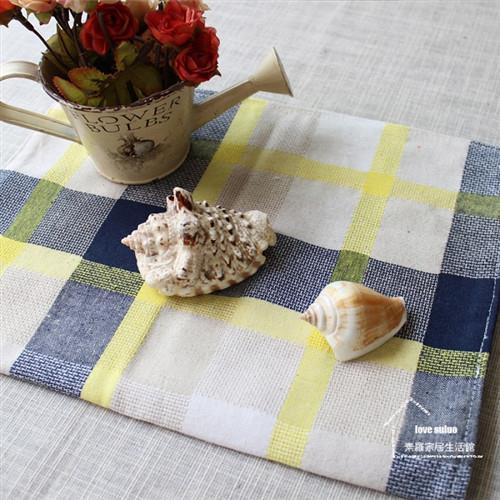 【協貿】地中海田園大格子手工棉麻彩黃布藝餐墊