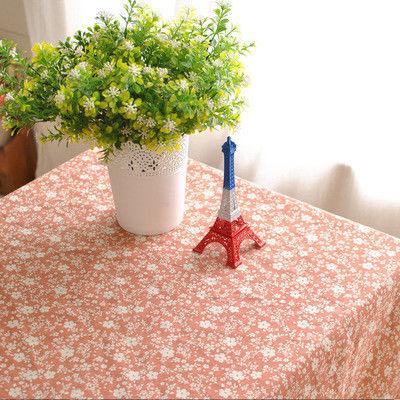 棉麻田園簡約布藝桔底白色小碎花餐桌布/
