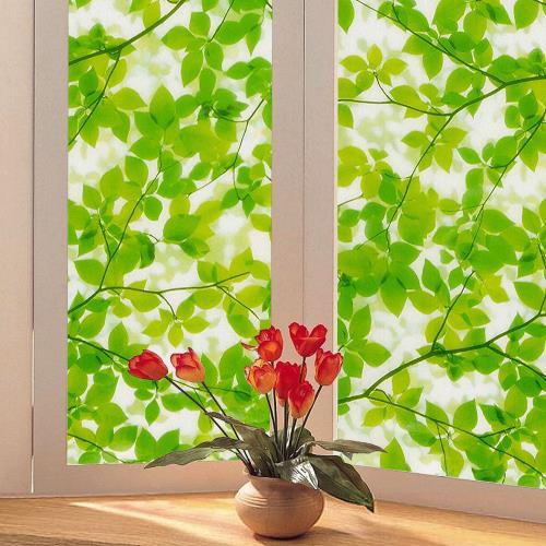 日本 MEIWA 節能抗UV靜電窗貼 (綠葉盈窗) 92x100公分