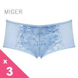 [MIGER密格內衣]瑰麗花朵蕾絲網紗中低腰內褲3件組-黑色+粉色+水色