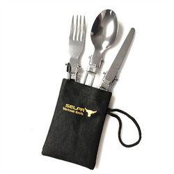 韓國 Selpa-免洗餐具折疊刀叉勺3件組x4套