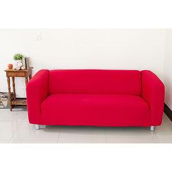 Osun-一體成型防蹣彈性沙發套/沙發罩_3人座 素色款 富貴紅