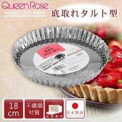 【日本霜鳥QueenRose】18cm活動式菊型不銹鋼派盤-日本製