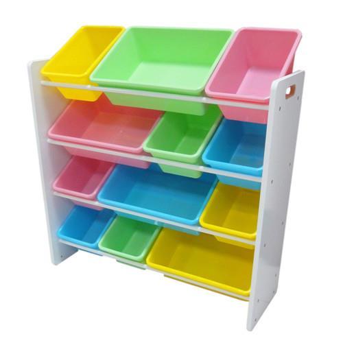 粉彩四層兒童玩具收納櫃