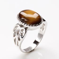 【寶石方塊】出類拔萃天然黃金虎眼石戒指